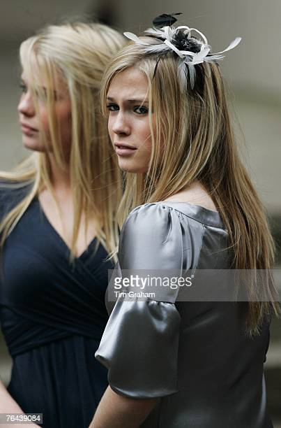 Diana's neices Amelia Spencer and Eliza Spencer at the 10th Anniversary Memorial Service For Diana Princess of Wales at Guards Chapel at Wellington...