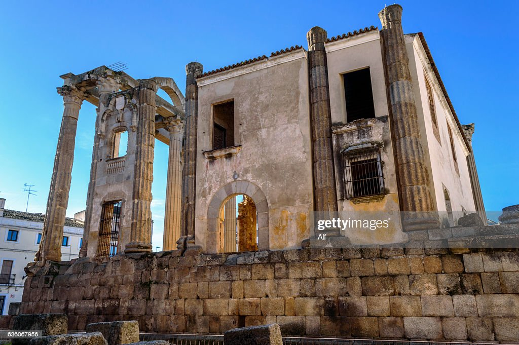Diana's Temple (or house of miracles) in Mérida, Spain : Stock Photo