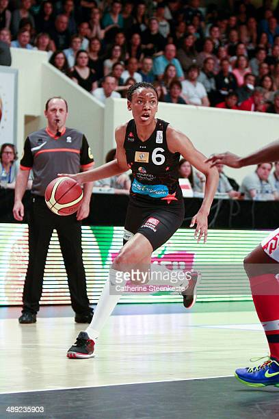 Diandra Tchatchouang of Bourges Basket in action during the game between ESB Villeneuve d'Ascq and Bourges Basket at Stade Pierre de Coubertin on May...