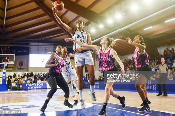 Diandra TCHATCHOUANG of Montpellier and Clarissa DOS SANTOS of Lyon and Marine JOHANNES of Lyon during the Euroleague Women Basketball match on Group...