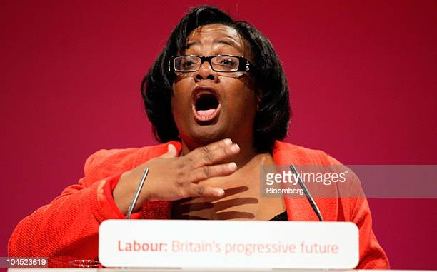 Diane Abbott a Labour lawmaker speaks at the party's annual conference in Manchester UK on Tuesday Sept 28 2010 Ed Miliband said that if he wins the...