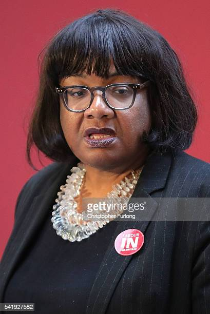 Diane Abbott attends as Labour Leader Jeremy Corbyn addresses an audience at the People's History Museum and sets out the reasons why Labour is...