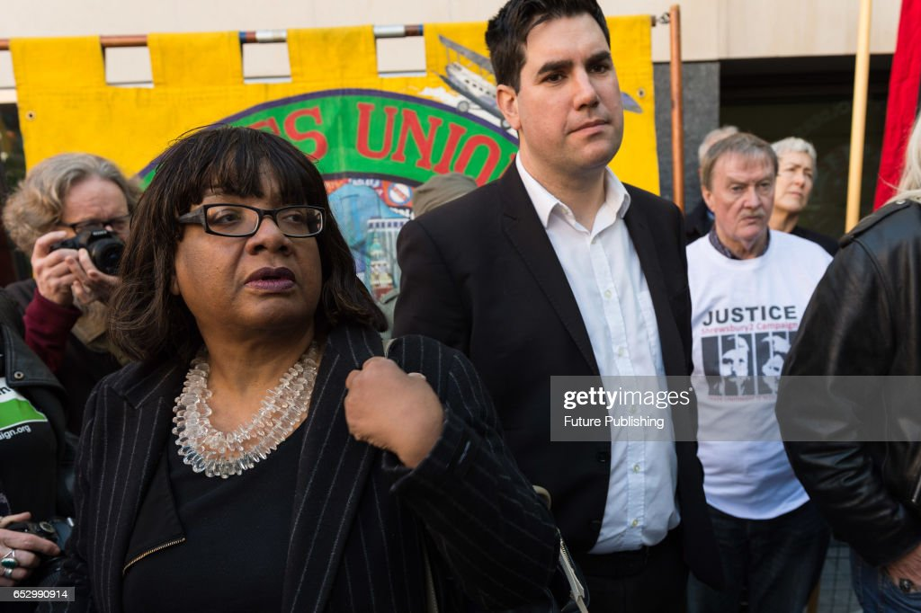 Diane Abbott, Labour Party MP joined protesters from Members of the Orgreave Truth and Justice Campaign (OTJC) in demonstration outside the Home Office March 13, 2017 in London, England. The protesters demand a public inquiry into police brutality against striking miners at the Orgreave coking plant on 18th June 1984, which Home Secretary, Amber Rudd decided not to grant. Wiktor Szymanowicz / Barcroft Images hello@barcroftmedia.com - +1 212 796 2458 +91 11 4053 2429