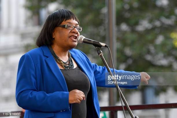 Diane Abbott MP speaks at the anti Boris Johnson rally in London Protesters gathered outside Downing Street to protest against the announcement of...