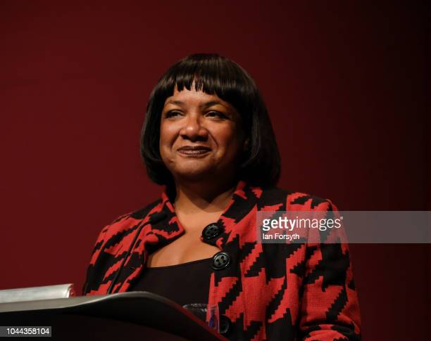 Diane Abbott Shadow Home Secretary delivers her speech on day three of the Labour Party Conference on September 25 2018 in Liverpool England The...