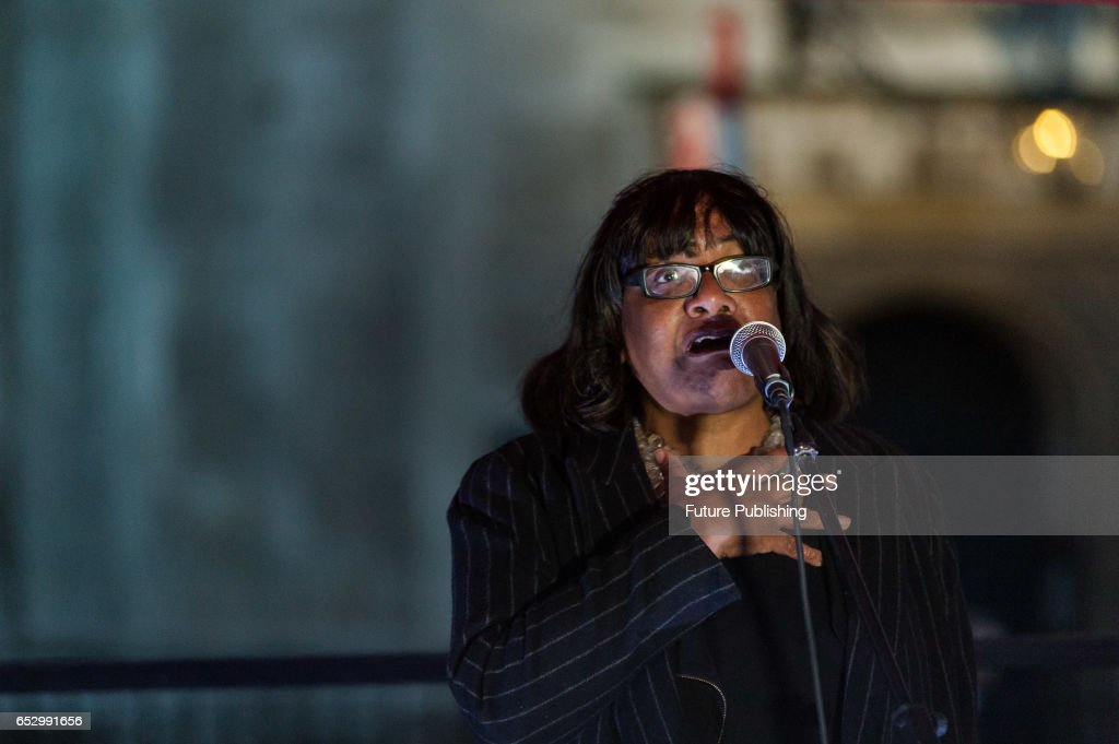 Diane Abbott, Shadow Home Secretary speaks at the protest, on March 13, 2017 in London, England. Demonstration in support of guaranteeing the rights of EU citizens in the UK post-Brexit is held in Parliament Square while the MPs vote in the House of Commons on the Labour amendments to the Article 50 bill. The protesters demand the amendments are passed before Britain enters the negotiations on the terms of leaving the EU. Wiktor Szymanowicz / Barcroft Images hello@barcroftmedia.com - +1 212 796 2458 +91 11 4053 2429