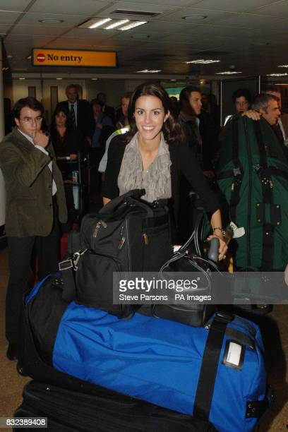 Diane Antonopoulos partner of Europe's Luke Donald arrives at Heathrow Airport London