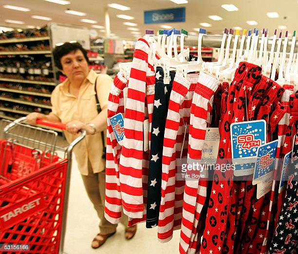Diane Barnette looks at US flag Fourth of Julythemed boxer shorts at a Target store June 27 2005 in Rosemont Illinois Consumers are picking up last...