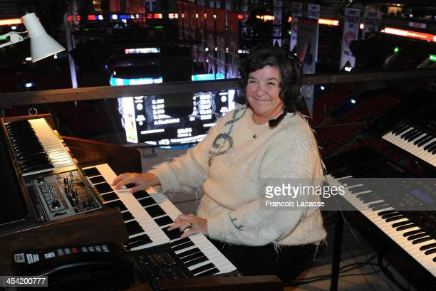 Diane Bibeau organist of the Bell Centre practices prior to the game between the Montreal Canadiens and the Buffalo Sabres during the NHL game on...