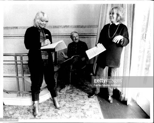 Diane Cilento and Carol Haye rehearsing at an ABC studio in Kings with director John Tasker May 28 1984