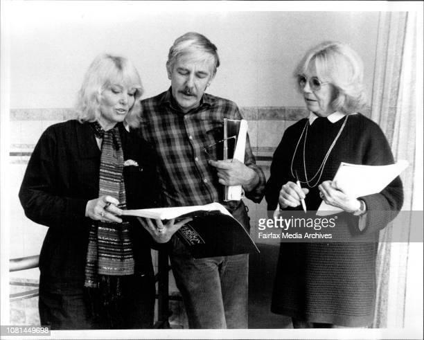 Diane Cilento and Carol Raye rehearsing at an ABC studio in Kings with director John Tasker May 28 1984