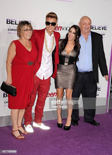 Diane Dale Producer/singer Justin Bieber Pattie Mallette and Bruce Dale attend 'Justin Bieber's Believe' world premiere at Regal Cinemas LA Live on...