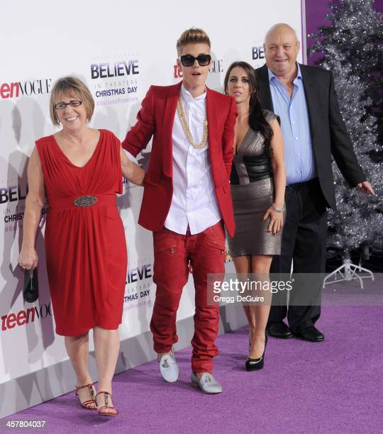 Diane Dale singer/producer Justin Bieber Pattie Mallette and Bruce Dale arrive at the world premiere of 'Justin Bieber's Believe' at Regal Cinemas LA...