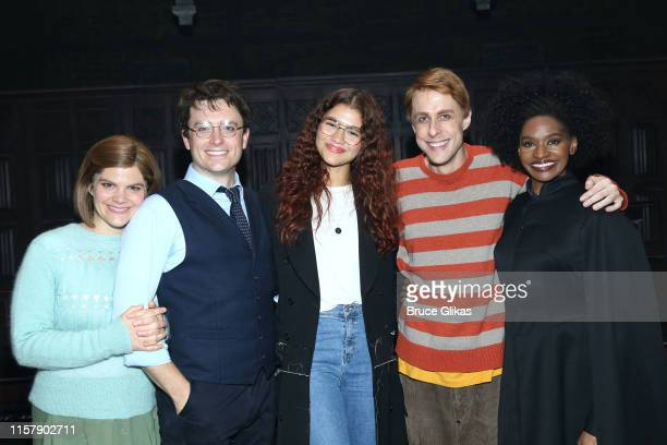 "Diane Davis as ""Ginny Potter"", James Snyder as ""Harry Potter"", Zendaya, Matt Mueller as ""Ron Weasley"" and Jenny Jules as ""Hermione Granger"" pose..."