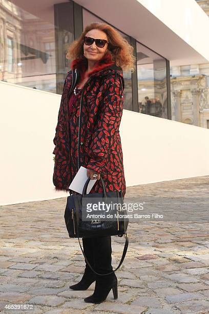 Diane de Furstenberg attends the Christian Dior show as part of the Paris Fashion Week Womenswear Fall/Winter 2015/2016 on March 6 2015 in Paris...