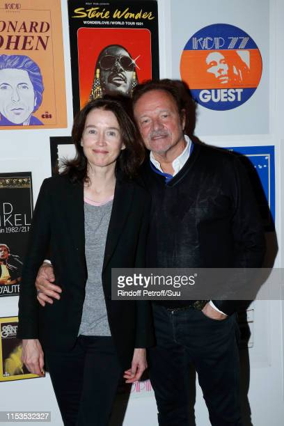 Diane de Mac Mahon and her husband Guillaume Durand attend Albert Koski exposes its Rock&Roll Posters Collection at Galerie Laurent Godin on June 03,...