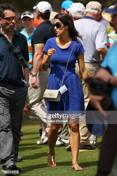 Diane Donald the wife of Luke Donald of England walks the couse during the first round of the 2013 Masters Tournament at Augusta National Golf Club...