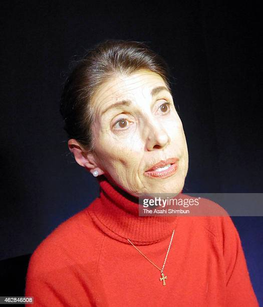 Diane Foley the mother of a US journalist James Foley executed by the extremist Islamic State group speaks during the Asahi Shimbun interview on...
