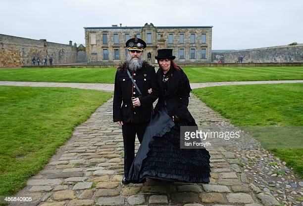 Diane Goldy and Glenn Baldwin pose for a picture during the Goth weekend on April 26 2014 in Whitby England The Whitby Goth weekend began in 1994 and...