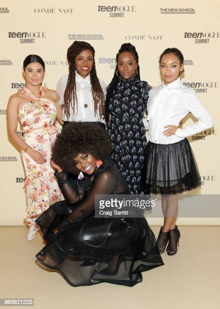 Diane Guerrero Akilah Hughes Aja Naomi King Logan Browning and Amara La Negra attend Teen Vogue Summit 2018 #TurnUp Day 1 at The New School on June 1...