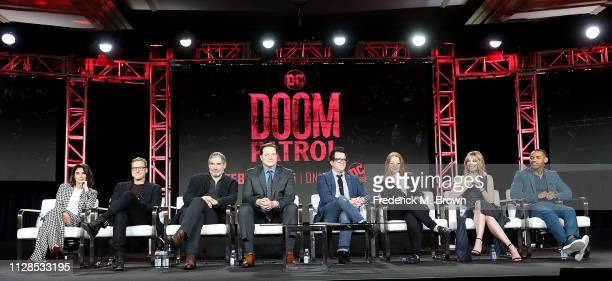 Diane Guerrero Alan Tudyk Timothy Dalton Brendan Fraser Jeremy Carver Sarah Schechter April Bowlby and Joivan Wade of the television show Doom Patrol...