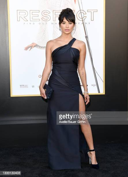 """Diane Guerrero attends the Los Angeles Premiere of MGM's """"Respect"""" at Regency Village Theatre on August 08, 2021 in Los Angeles, California."""