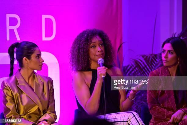 Diane Guerrero Gina Torres and Sarah Shahi speak onstage during TheWrap's Power Women Summit at Fairmont Miramar Hotel on October 25 2019 in Santa...