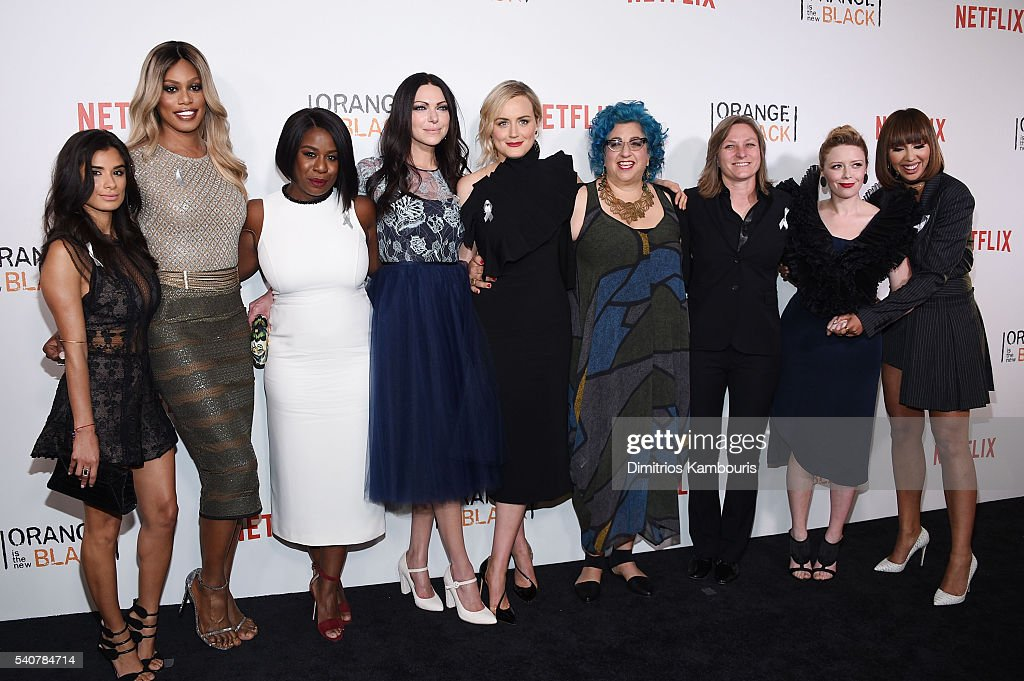 Diane Guerrero, Laverne Cox, Uzo Aduba, Laura Prepon, Taylor Schilling, Jenji Kohan, Cindy Holland, Natasha Lyonne and Jackie Cruz attend 'Orange Is The New Black' premiere at SVA Theater on June 16, 2016 in New York City.