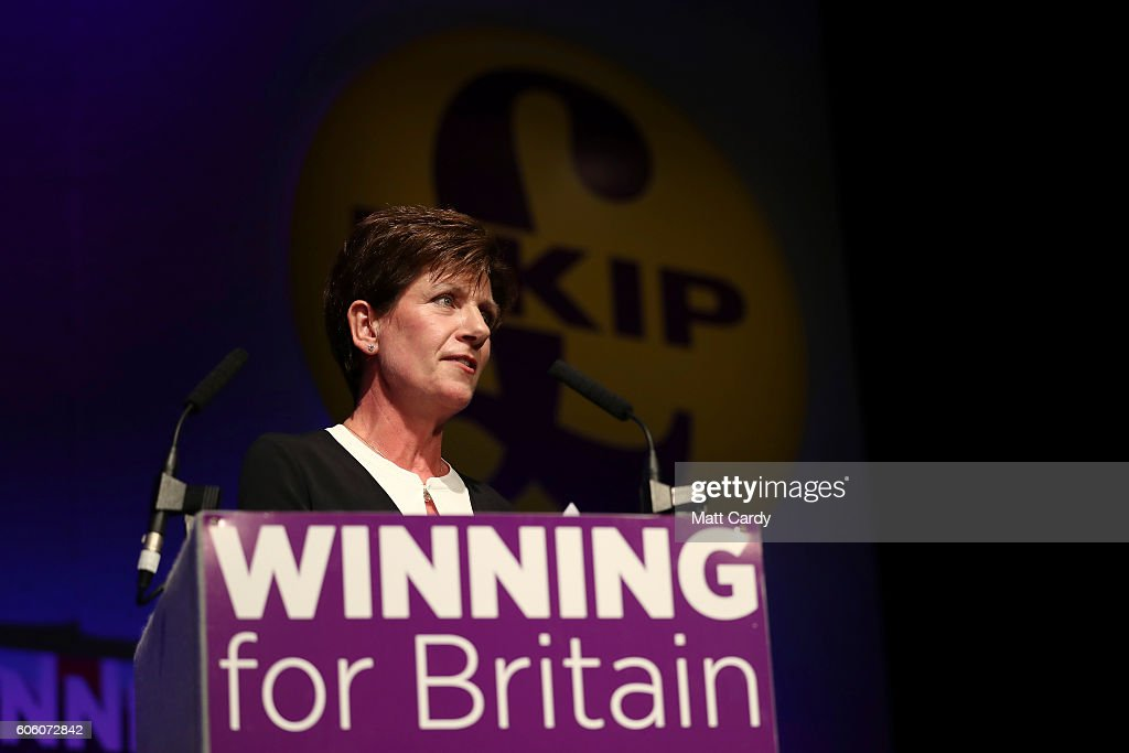 Diane James gives a speech after she was announced as the new leader of UKIP at the Bournemouth B.I.C where the United Kingdom Independent Party are holding their annual conference on September 16, 2016 in Bournemouth, England. UKIP are holding their first conference since the historic vote by the UK to leave the European Union. The conference is the last Nigel Farage will attend as leader after it was announced today that MEP Diane James will take up the position.