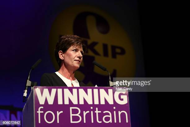 Diane James gives a speech after she was announced as the new leader of UKIP at the Bournemouth BIC where the United Kingdom Independent Party are...
