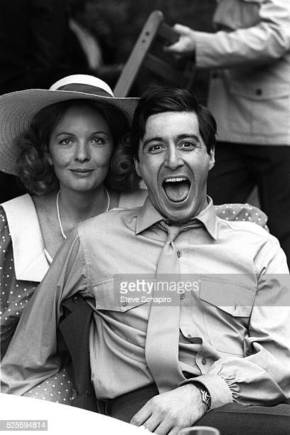 Diane Keaton and Al Pacino between takes on the set of The Godfather