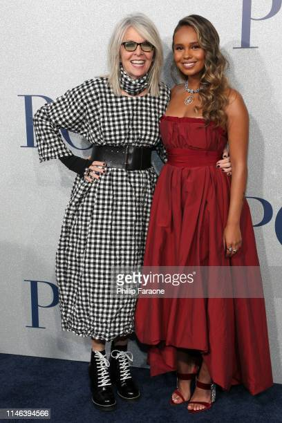 "Diane Keaton and Alisha Boe attend the premiere of STX's ""Poms"" at Regal LA Live on May 01, 2019 in Los Angeles, California."