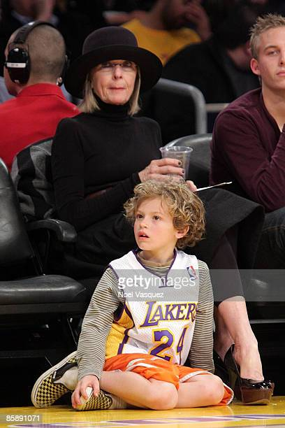 Diane Keaton and her son Duke attend the Los Angeles Lakers versus Denver Nuggets game at Staples Center on April 9 2009 in Los Angeles California