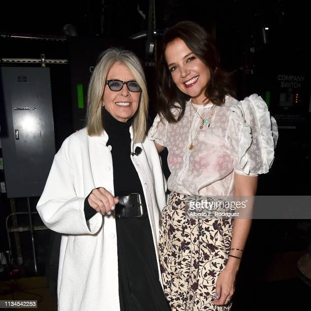 Diane Keaton and Katie Holmes pose backstage at CinemaCon 2019 The State of the Industry and STXfilms Presentation at The Colosseum at Caesars Palace...