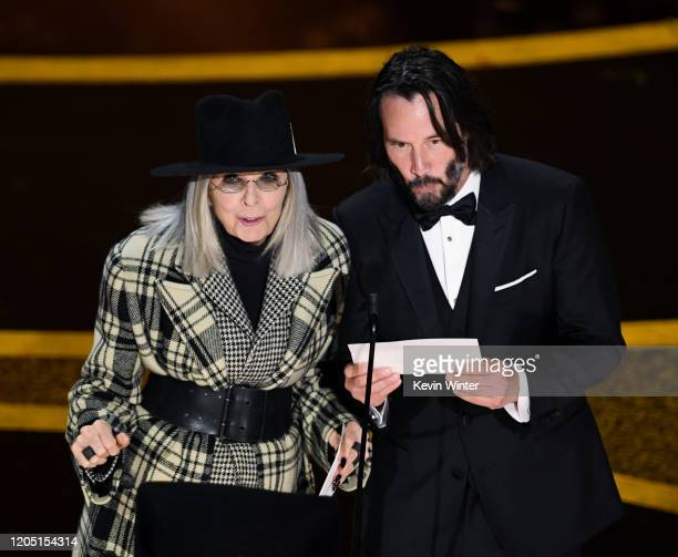 Diane Keaton and Keanu Reeves speak onstage during the 92nd Annual Academy Awards at Dolby Theatre on February 09, 2020 in Hollywood, California.