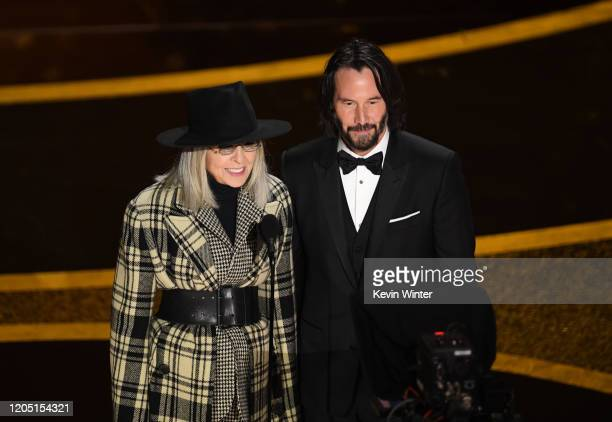 Diane Keaton and Keanu Reeves speak onstage during the 92nd Annual Academy Awards at Dolby Theatre on February 09 2020 in Hollywood California