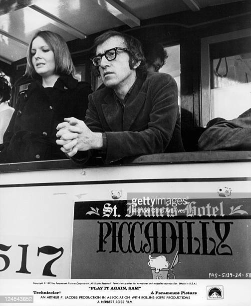 Diane Keaton and Woody Allen on cable car in a scene from the film 'Play It Again Sam' 1978