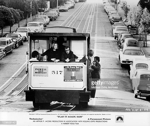 Diane Keaton and Woody Allen riding on a cable car together in a scene from the film 'Play It Again Sam' 1972