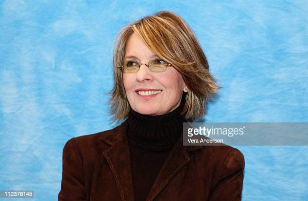 Diane Keaton during 'Something's Gotta Give' Press Conference with Jack Nicholson Diane Keeton Keanu Reeves Amanda Peet Nancy Meyers and Frances...