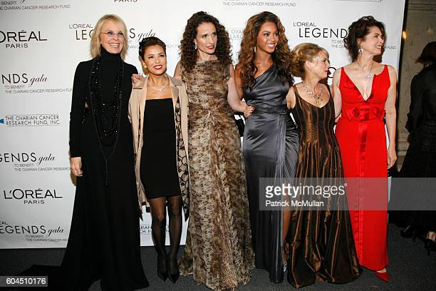 Diane Keaton Eva Longoria Andie MacDowell Beyonce Knowles Carol J Hamilton and Dayle Haddon attend L'OREAL Legends Gala Benefiting The Ovarian Cancer...