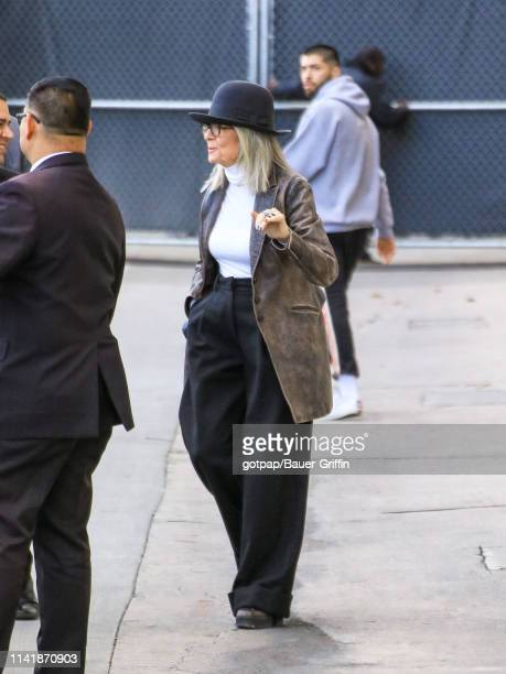 Diane Keaton is seen arriving at 'Jimmy Kimmel Live' on May 06 2019 in Los Angeles California