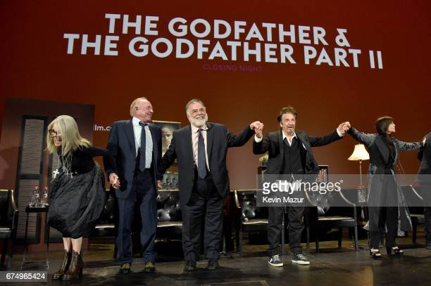 Diane Keaton James Caan Francis Ford Coppola Al Pacino and Talia Shire take a bow onstage during the panel for 'The Godfather' 45th Anniversary...
