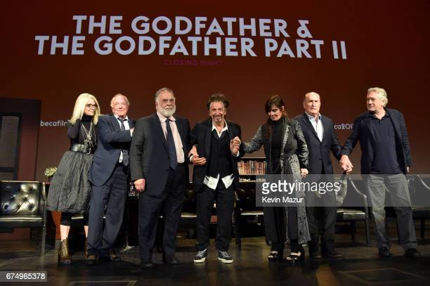 Diane Keaton James Caan Francis Ford Coppola Al Pacino Talia Shire Robert Duvall and Robert DeNiro take a bow onstage during the panel for 'The...