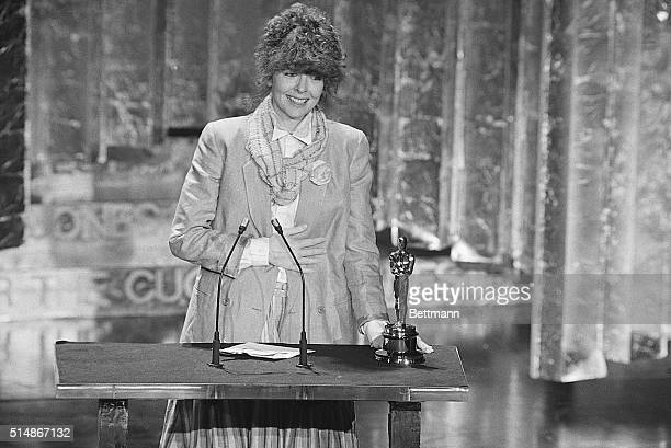 Diane Keaton makes her acceptance speech after she won the Oscar for Best Performance by an Actress in a Leading Role at the 50th Annual Academy...
