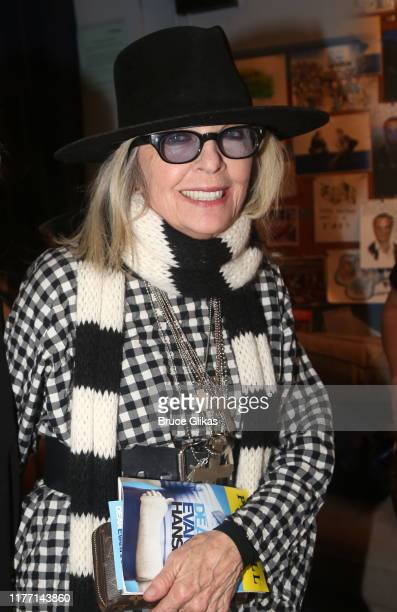 Diane Keaton poses backstage at the hit musical Dear Evan Hansen on Broadway at The Music Box Theatre on September 25 2019 in New York City