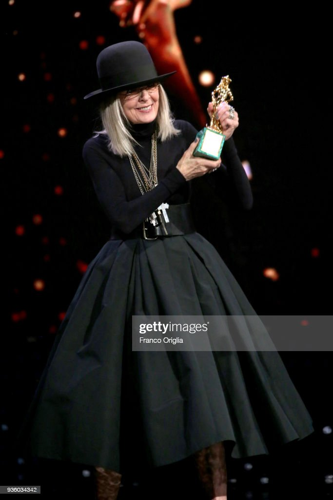 Diane Keaton receives the Special Award during the 62nd David Di Donatello awards ceremony on March 21, 2018 in Rome, Italy.