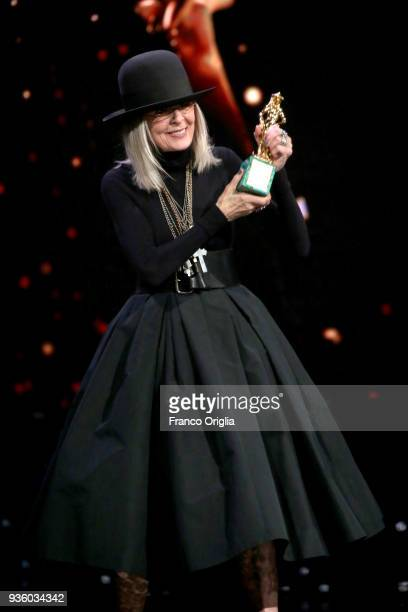 Diane Keaton receives the Special Award during the 62nd David Di Donatello awards ceremony on March 21 2018 in Rome Italy