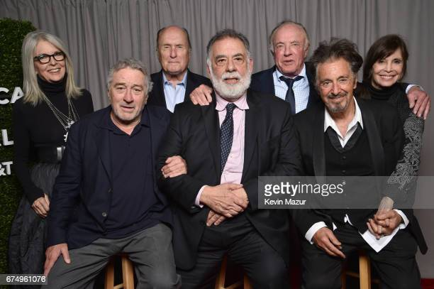 Diane Keaton Robert DeNiro Robert Duvall Francis Ford Coppola James Caan Al Pacino and Talia Shire pose for a portrait at 'The Godfather' 45th...