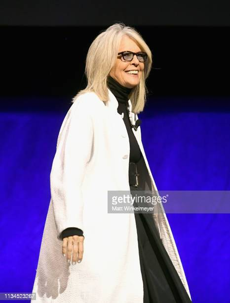 Diane Keaton speaks onstage at CinemaCon 2019 The State of the Industry and STXfilms Presentation at The Colosseum at Caesars Palace during CinemaCon...