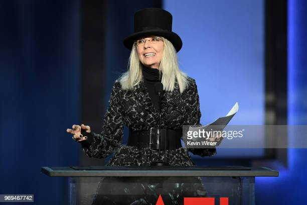Diane Keaton speaks onstage during the American Film Institute's 46th Life Achievement Award Gala Tribute to George Clooney at Dolby Theatre on June...